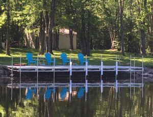 Patio dock with Blue Chairs
