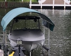 hoop green boat canopy